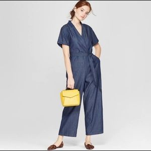 A new day chambray cropped palazzo jumpsuit
